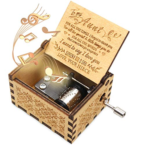 ukebobo Wooden Music Box- You are My Sunshine Music Box, from Niece to Aunt, Gifts for Aunt,Newest Design Music Box - 1 Set