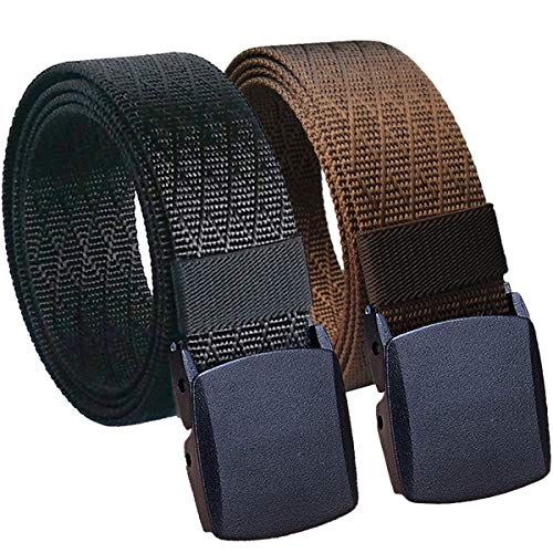 "Hoanan Mens Nylon Belt, Tactical 2 Pack 28-56"" Waist Casual Work No Metal Web Belt (2pack-black coffee, Pant size up to 56"")"