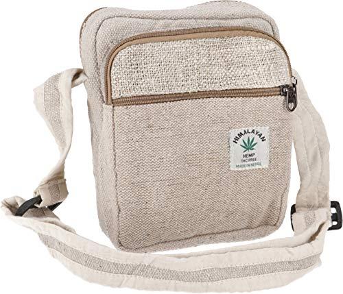 GURU SHOP Kleine Hanf Schultertasche, Hippie Tasche, Goa Tasche - Hanftasche 1, Herren/Damen, Beige, Size:One Size, 24x18x4 cm, Alternative Umhängetasche, Handtasche aus Stoff