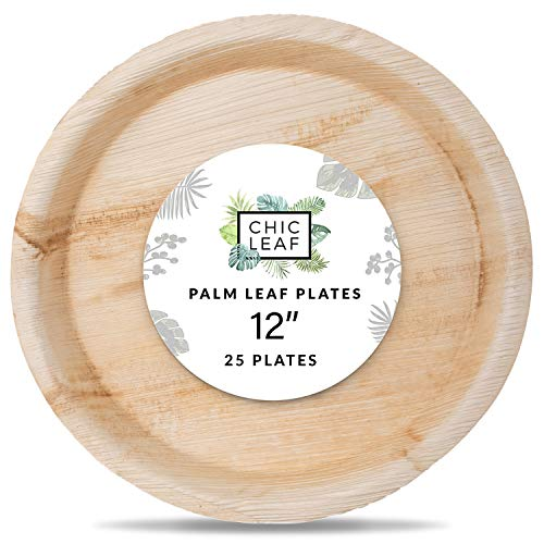 Chic Leaf Palm Leaf Plates Disposable Bamboo Plates 12 Inch Round Trays (25 pk) Compostable and Biodegradable - Weddings Charcuterie Boards and Catering Disposable Party Trays