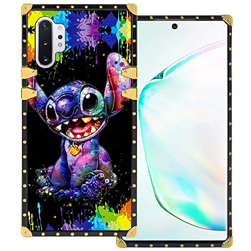 DISNEY COLLECTION Samsung Galaxy Note 10+ 5G Square Case Stitch Luxury Cute Metal Decoration Full Protective Soft TPU Shockproof Back Cover for Samsung Galaxy Note 10 Plus 6.8 Inch