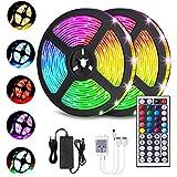 LED Streifen 10M, VOYOMO LED Strips RGB 300LEDs SMD5050, 20 Farben mit 44 Tasten IR-Fernbedienung, 12V 5A Netzteil IP65 Wasserdicht für Beleuchtung Deko, Küche, Terrasse, Party und ganzes Haus