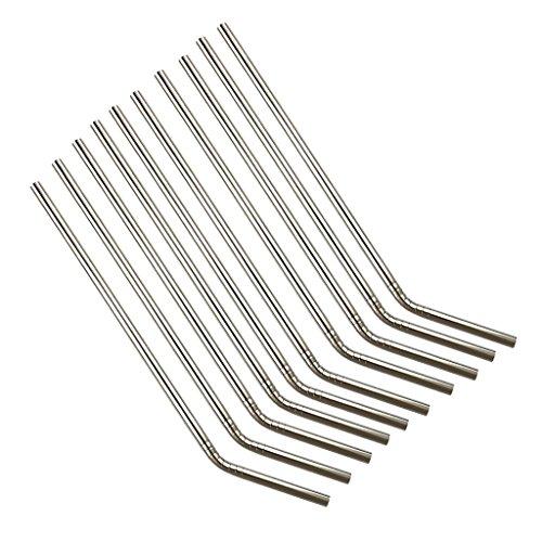 joyMerit 10 Pajitas Reutilizables de Acero Inoxidable 304 de Metal Curvadas para Tazas, Lavables, Fáciles de Limpiar
