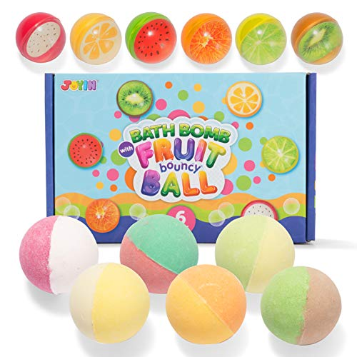 Bath Bombs for Kids with Fruit Bouncy Balls, 6 Pack Bubble Bath Bombs with Surprise Toy Inside, Natural Essential Oil SPA Bath Fizzies Set, Kids Safe Birthday Gift Set for Boys and Girls