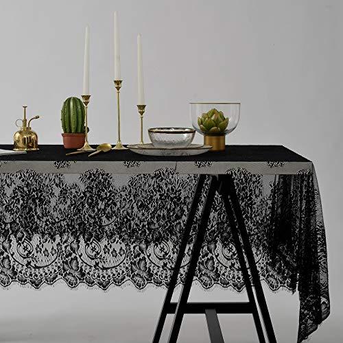 Creek Ywh Origineel tafelkleed van kant, zwart, tv-kast, kant, eenvoudige afdekking, voor wind en bruid, tafelkleed, zwart, 145 x 260 cm