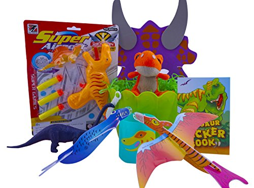 Ultimate Dinosaur Easter Basket Gift Includes Basket, Shred, Dart or Water Gun, Figurine, Plush, Gliders, Activity Book, Mask and Mug - Best Easter Gift for Boys - Great Stuffer
