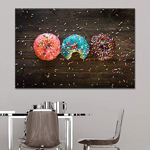 Canvas Wall Art - Donuts and Colorful Glaze Toppings - Giclee Print Gallery Wrap Modern Home Art Ready to Hang