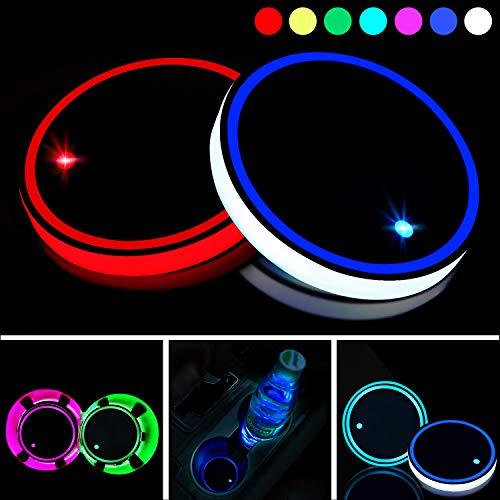 Boao 2 Piezas Posavasos LED Posavasos de Luz de Coche 7 Colores Almohadila de Vaso Luminiscente Alfombrilla de Carga USB para Decoración Interior de Coche Lámpara Atmósfera Luz