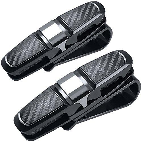 FineGood Juego de 2 soportes para gafas de sol para coche, con clip para tarjetas, color negro