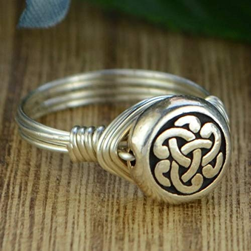 Celtic Eternity Knot Bead and Sterling Silver Wire Wrapped Ring- Custom made to size 4-14