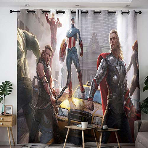 Elliot Dorothy Avengers Superhero Iron Man Captain America Decorative Curtains Backout Curtain Set Thermal Insulating Blackout Curtain for thermal insulation decoration W63 x L72