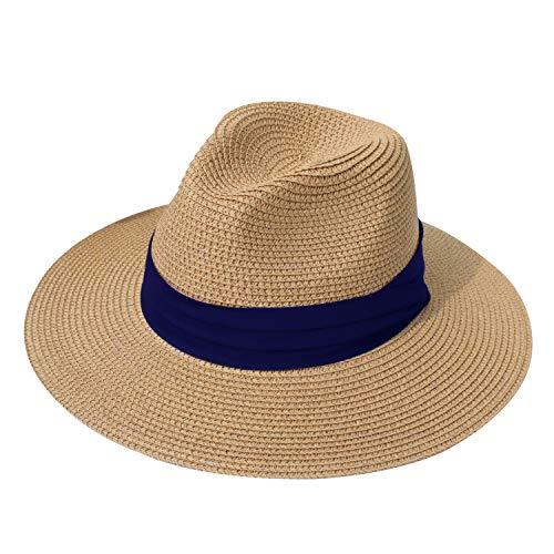 DRESHOW Damen Stroh Panama Hut Fedora Strand Sonnenhut Breiter Rand Stroh Aufrollen Hut UPF 50+