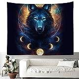 #Wandteppich #Wolf #Mond #farbig