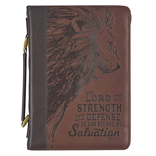 Brown Faux Leather Classic Bible Cover | Lord is My Strength Exodus 15:2 w/Lion |Bible Case Book Cover for Men/Women, Large