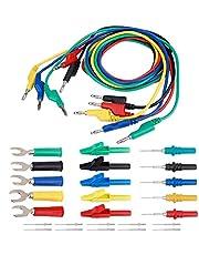 Akozon multimeter testkabel set 4 mm elektronische meetleidingen bananenstekker testkabelset Automotive test monster krokodillenklem U-sonde tester pin stekker draad kabel sonde naald