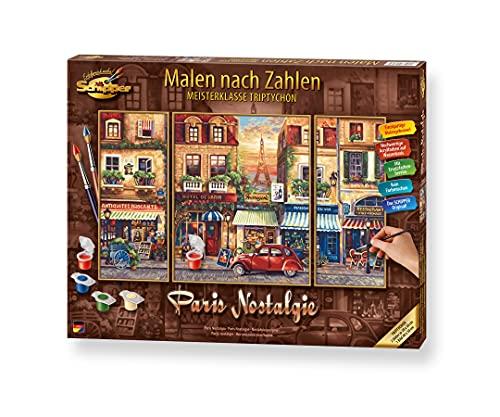 Schipper 609260626 Malen nach Zahlen, Paris Nostalgie - Bilder malen für Erwachsene, inklusive Pinsel und Acrylfarben, Triptychon, 50 x 80 cm