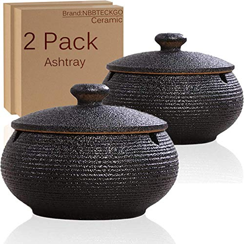 2 Pack Cigarettes Ashtrays with Lid Windproof for Indoor Outdoor, Ceramic Ashtray Built in 3 Cigar Holders,Smoking Ash Tray Decor Home, Desktop, Office,Table, Patio, Bar, KTV, Father/Men/Smokers Gifts