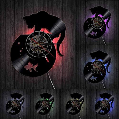 Wwbqcl Reloj de Pared con Disco de Vinilo de Gato Negro y pecera para Amantes de los Gatos, decoración de Animales, Reloj Vintage