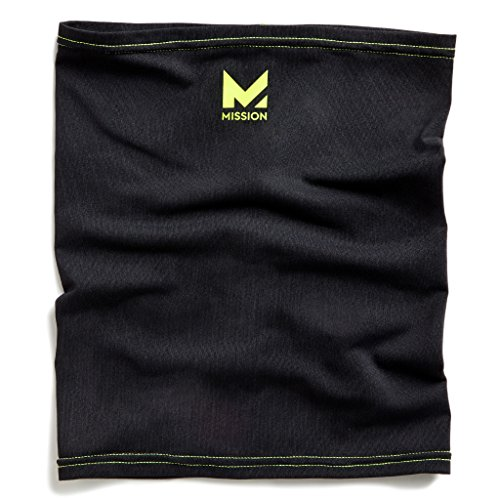 Mission HydroActive Fitness Multi-Cool Neck Gaiter and Headband, Jet Black/High Vis Green, One Size