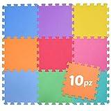 BAKAJI Alfombra puzzle multicolor de suave goma EVA resistente, aislante, lavable, alfombra de juegos para niños. Tamaño del taco: 30 x 30 cm (10 unidades de color).
