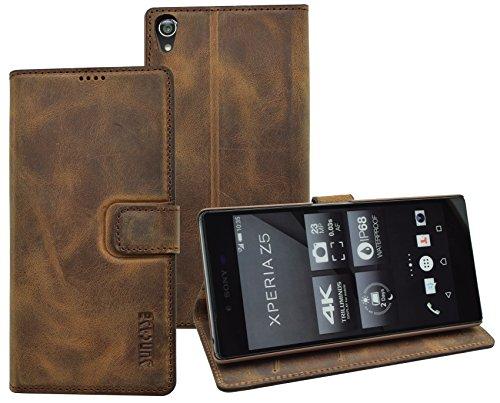 Suncase Book-Style (Slim-Fit) für Sony Xperia Z5 Ledertasche Leder Tasche Handytasche Schutzhülle Hülle Hülle (mit Standfunktion & Kartenfach) antik-coffee