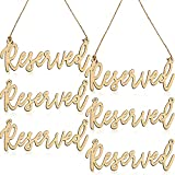 Hanging Wooden Reserved Sign Laser Cut Rustic Style Reserved Sign with Jute Hanging Rope for Wedding Important Events Church Pews Chair and Restaurant (6 Pieces)