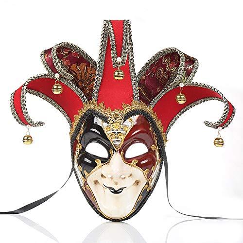 NICEWL Venetiaanse Clown Masker, Mannen Maskerade Volledige Gezicht Masker, Handgemaakte Halloween Vintage Party Masque voor Volwassenen, Carnaval Verjaardagscadeau