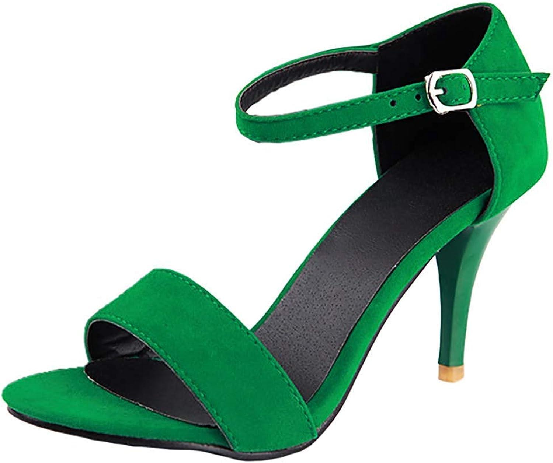 Gedigits Women's Elegant Buckle Open Toe Ankle Strap Stilettos High Heel Pumps Sandals Green 7.5 M US