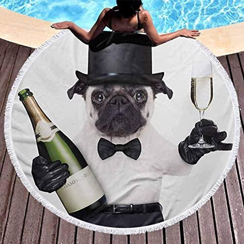 Manta de Playa Pug Kids Toalla de Playa Celebración Perro con Botella de champán Mientras Brinda Fotografías de Happy Moments para Colgar en la Playa o en la Pared Negro Esmeralda Blanca (diámetro 59