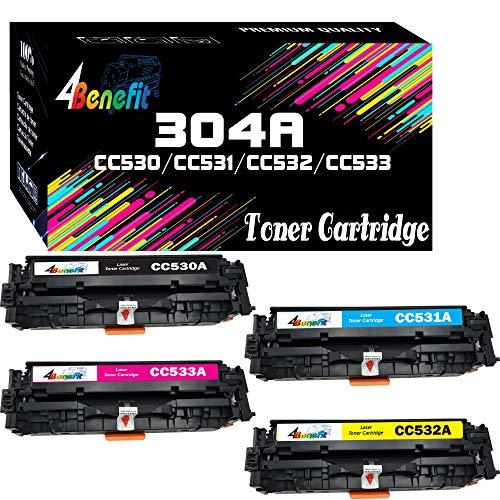 4Benefit - Cartucho de tóner compatible 304A CC530A CC531A CC532A CC533A para impresora HP Color Laserjet Pro MFP M476dw M476dn M476nw M451dn M451nw M475dw M475dn MF8580CDW (4 unidades, BCMY)