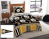 Pittsburgh Steelers NFL Twin Comforter & Sheet Set + Bonus Pennant Flag (4 Piece Bed in A Bag)