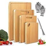 Photo Gallery masthome set di 4 taglieri spessi in bamboo per cucina, tagliere legno in bambu professionale con 1 paio di guanti antitaglio e 1 coltello da cucina addizionale