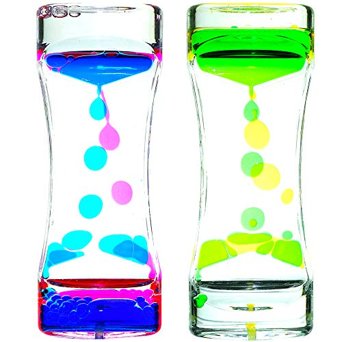 Big Mo's Toys Liquid Motion Bubble Timer - Rectangular Sensory Relaxation Water Toy - Assorted...