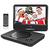 WONNIE 9.5' Tragbarer DVD-Player drehbares HD Display 4 Stunden Akku, Unterstützt USB/SD Slot, AV Out/IN, mit 1.5M Auto-Ladegerät und Stromadapter (Schwarz)