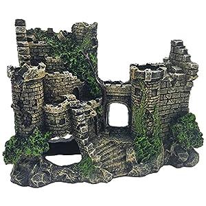 Castle Tower Ruins Ruin Hide Realistic Artificial Polyresin Aquarium Ornament Aquatic Model Decoration Fish Tank Marine Decor Ornaments