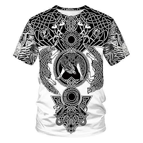 Hombres/Mujeres Sudadera Corta vikinga Pareja Camisetas de Manga Corta Sueltas con impresión Digital 3D