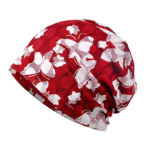 Aesy Berreto Turbante per la Perdita di Capelli Cancro Chemioterapia, Cuffia da Notte in Cotone per Chemio, Ciclismo, Corsa - Floreale Cappello Beanie Slouchy Hat per Donna (Rosso #D)