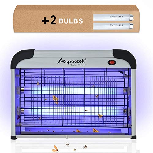 Aspectek Powerful 20W Electronic Indoor Insect Killer, Bug Zapper, Fly Zapper, Mosquito Killer-Indoor Use Including Free 2 PACK Replacement Bulbs