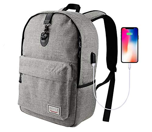 Laptop-Rucksack, Beyle Schlank Anti-Theft Water Resistant Travel Laptop-Rucksäcke für Männer Frauen mit USB-Ladeanschluss Schule Computer Buch Tasche für, grau