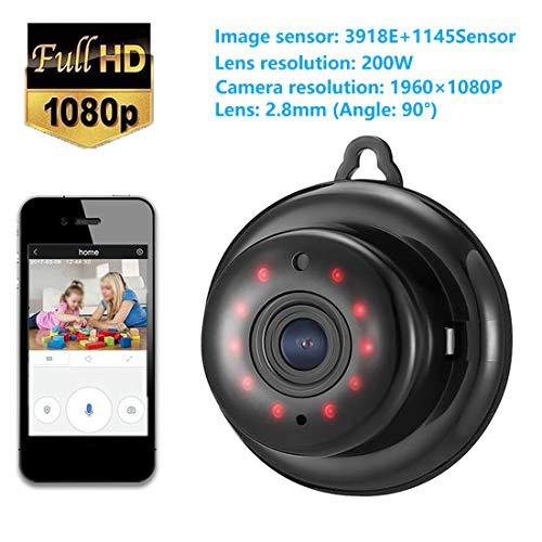 Mini Überwachungskamera,WiFi/WLAN IP Kamera/1080P WiFi Kamera mit Bewegungsmelder Aussen und Infrarot Nachtsicht,2-Way Audio,Nachtsicht, Videowiedergabe-Schwarz