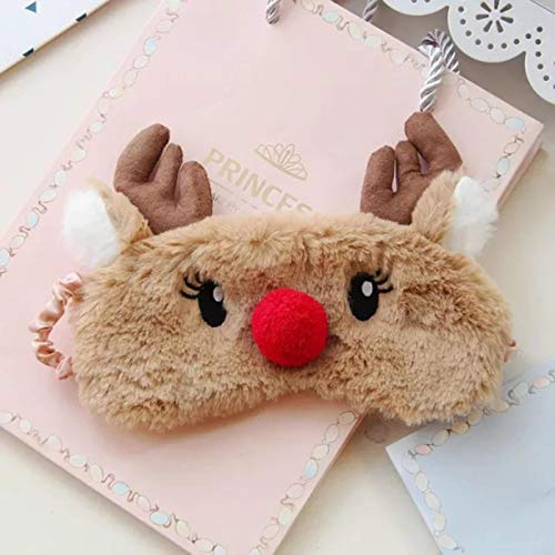 LTE Cartoon Christmas Elk Eye Mask Plush Bunny Animal Soft Cómodo sombreado Sleep Eye Cover con cordón elástico, Alce