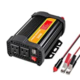 300W Car Power Inverter AC Car Plug Converter with Dual USB Car Charger Adapter for Plug Outlet 2 AC Out Sockets LED Indicator ON/Off Switch Outlet Charging DC 12V or 24V Input