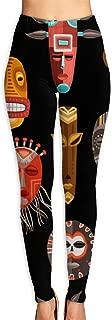 LeYue Women's African Face Mask Yoga Pants Activewear Workout Leggings Sports Pants