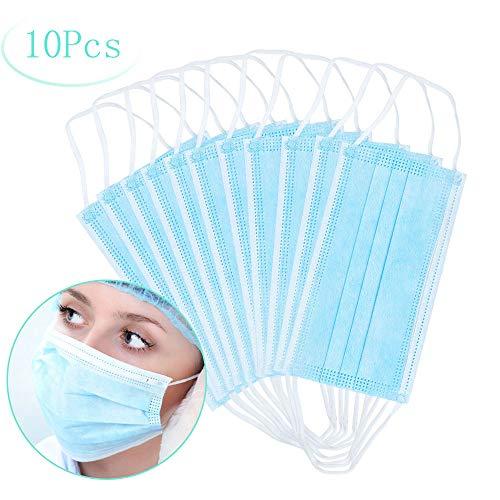 Máscaras desechables, máscara sellada con bucle elástico para los oídos, 3 capas transpirables, cómoda máscara quirúrgica sanitaria para uso al aire libre, oficina en el hogar, hospital -10 Pcs