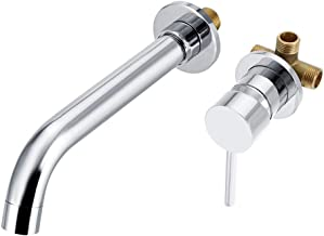 Bathroom Faucet Wall Mount Chrome Plated Brass Kitchen Basin Tap Single Handle One Hole Hot Cold Water Lavatory Basin Vanity Assembly