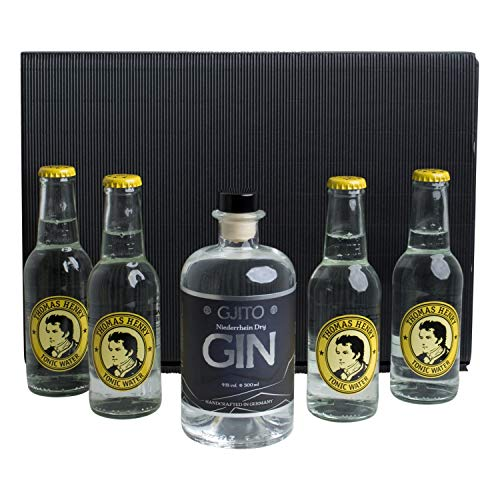GJITO Dry Gin + 4x Thomas Henry Tonic Water 200ml - Schwarze GESCHENKBOX