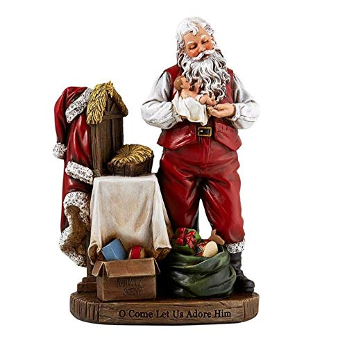Religious Gifts Adoring Santa Claus with Infant Jesus Christ Rein Christmas Statue, 8 Inch