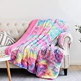 NEWCOSPLAY Super Soft Faux Fur Throw Blanket Premium Sherpa Backing Warm and Cozy Throw Decorative for Bedroom Sofa Floor (Thick-Dark Multi, Throw(50'x60'))