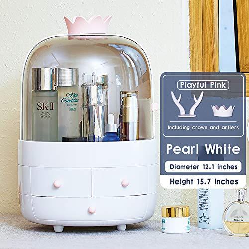 ESOUL TECHNOLOGY Multifunktionaler Make-up-Organizer mit staubdichtem Schmuck- und Kosmetikaufbewahrung, Hautpflegeprodukte, Schminktisch, Schreibtisch-Box mit Schublade auf Arbeitsplatte weiß