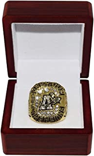 TORONTO ARGONAUTS (Andrew Stewart) 1997 GREY CUP CHAMPIONS Canadien Football League Rare Collectible Gold CFL Replica Championship Ring with Cherrywood Display Box